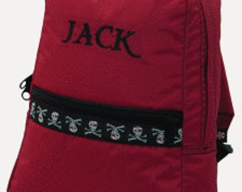Personalized Red pirate trim Boys Medium Backpack Bookbag Daycare Kindergarten Overnight School Camp Personalized Boys Girls