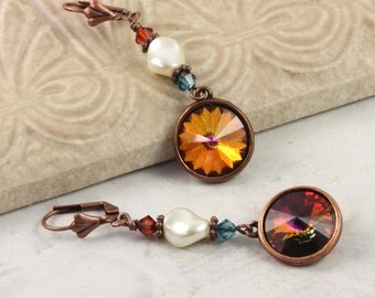 Copper Crystal Earrings Bridesmaid Jewelry Cream Pearl Flame Red Drop Earrings Dangle Wedding Earrings Fashion Jewelry Mothers Day Jewelry