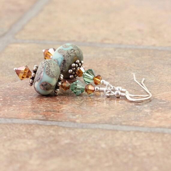 Green Lampwork Earrings Copper Earthy Topaz Crystal Jewelry Boho Style Earrings