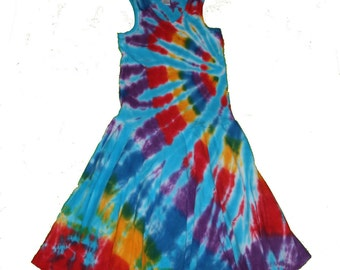 Tie Dye Dress, Tie Dye Tank Dress, Girls Tank Dress- Girls Tank Dress in Turquoise Rainbow Tie Dye