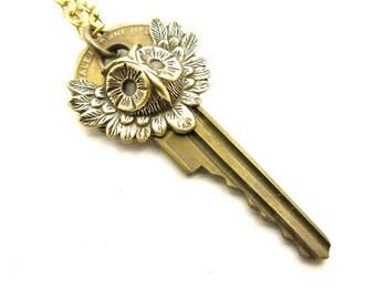 OOAK Unisex Brass Owl Key Layering Necklace