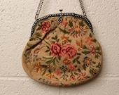 Vintage 1920's Petit Point Embroiderd Floral Purse