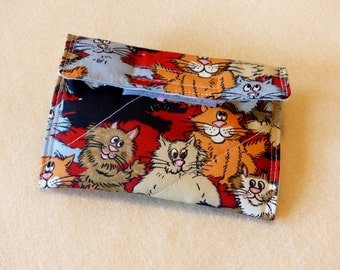 Purse accessory, crazy kitties fabric, coin purse with flap, cats, gift for women, gift for girls, kitty coin purse, cat coin purse