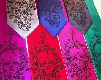 RokGear Floral Skull Neckties - 2 Mens necktie - Day of The Dead Print to order in colors of your choice