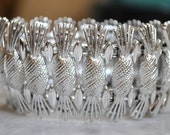Sara Coventry Wide Silvertone Pineapple Bracelet