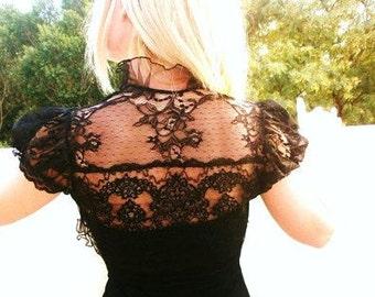 Freedom of a thousand doves black lace bolero wedding shrug bridal bolero jacket victorian bolero gothic bolero