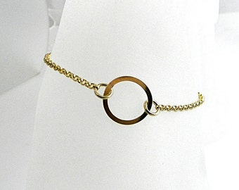 "O Symbolic Slave Bracelet 8.25"" 14kt Gold filled O chain and clasp for plus sized wrist"