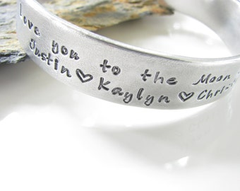 Love You To The Moon Aluminum Cuff with Children's Names Made To Order - New for Christmas 2013