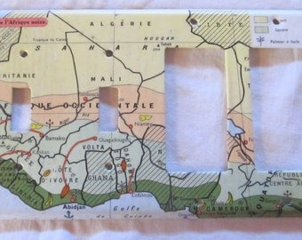 vintage French atlas CARTE de L'AFRIQUE NOIRE quadruple toggle/decora/electrical outlet plate