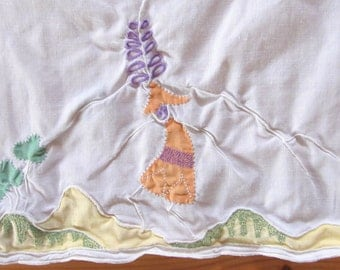 vintage EMBROIDERED TEA TOWEL cotton -Japanese- 27x17 inches (68x43cm)