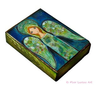 Angel Verde -  Giclee print mounted on Wood (6 x 8 inches) Folk Art  by FLOR LARIOS
