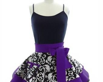 Retro Half Apron - Royal Purple Parisian Womans Half Apron - Vintage Apron Style - Damask Pin up Rockabilly Cosplay Costume