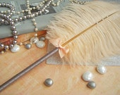Ostrich Feather Pen-Peach/Gray-READY TO SHIP