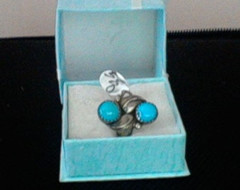 Turquoise and silver handcrafted ring