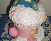 """SALE!! Faux/Fake Easter/spring cupcake box with """"candy""""; memento box; holiday gift; pink; bunny; girl"""