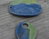 SALE Handmade Pottery Beads 2 piece set in Stormy Blue and Tidal Pool Green