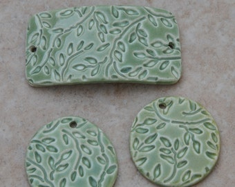 Handmade Pottery Beads 3 piece set in GreenTea