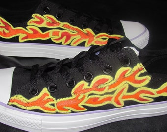 Converse Chuck Taylor All Star Canvas Low Top ADULT handpainted Flame shoes
