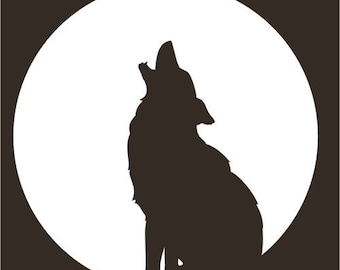 Wolf coyote moon totem white vinyl decal
