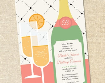 Sweet Wishes Mimosa Brunch Bridal Shower Invitations - PRINTED - Digital File Also Available