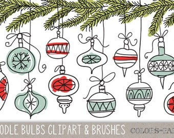 Doodle Christmas Bulbs. Digital Clipart, Brushes & Stamps. Instant Download. Personal and Limited Commercial Use.