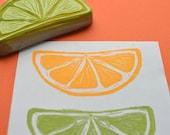 slice of lime hand carved rubber stamp, handmade lemon stamp, citrus slice stamp