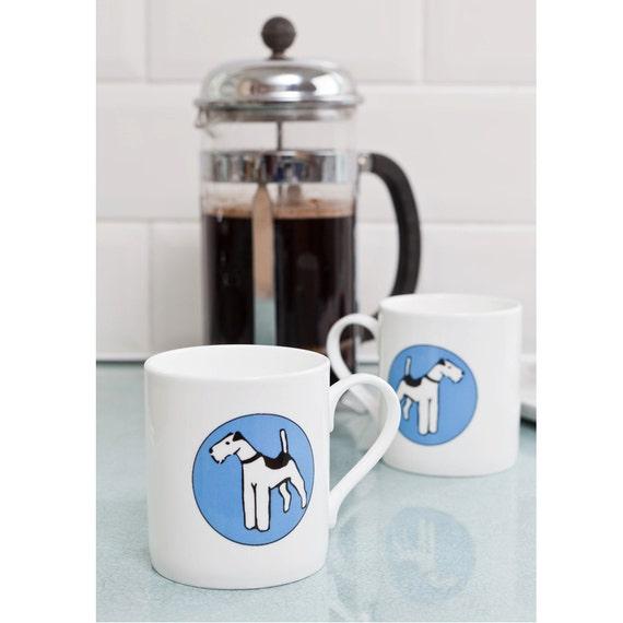 Terrier Mug, Dog Cup, Bone China Cup, Fox Terrier Mug, Wire Fox Terrier