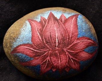 Hand Painted River Stone Lotus Flower