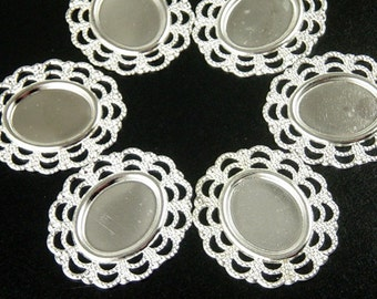 Pendant Blank 16 Silver Filigree Flat Oval Round Victorian Bendable Setting Lace Edges Tray Pad 27mm x 24mm NF (1013pen27s1)