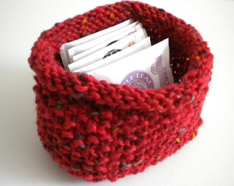Red Knit Bowl / Red Knit Basket / Red Tea Caddy / Hand Knit Basket / Under 20 gift / Holiday Decor / Small Basket