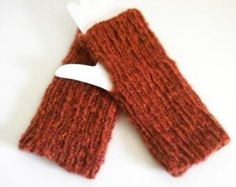 Cinnamon Fingerless Gloves / Hand Knit Gloves / Russet Wrist Warmers / Long Knit Gloves / Knit Winter Gloves