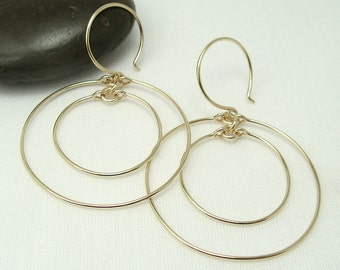 CONCENTRIC HOOP EARRINGS, 14K gold filled double circle earrings