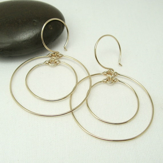 Concentric Circle Earrings: CONCENTRIC HOOP EARRINGS 14K Gold Filled Double Circle