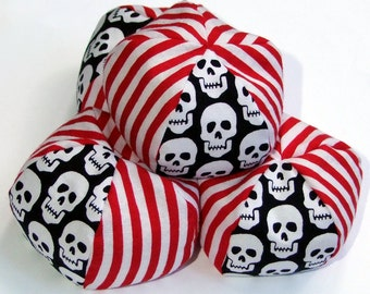 Juggling bags in pirate theme, set of four