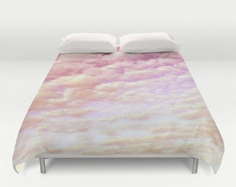 "Duvet Cover Made to Order ""Cotton Candy Sky"" Decorative bedding design pink light happy comforter bedroom blanket wedding dreamy cloud soft"