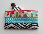 ZIPPER POUCH for Pencils, Make up, Coupons, Rectangle Zipper Bag, Mixed Prints Zebra, Fruit and Aqua Dots