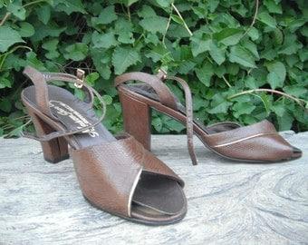 Vintage 1950s Peeptoe/SLINGBACKS by Mason Shoe Co - Size 7.5 / DEADSTOCK