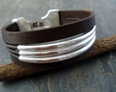 Dark Brown Vintage  Leather Solid  Sterling Silver  Cuff/ Bracelet Eco Friendly Leather/Contemporary Bracelet