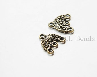 30pcs Antique Brass Tone Base Metal 3 to 1 component or earring findings - 15x15mm (11357Y-C-399)