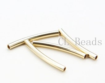 4pcs Shiny Gold Plated Curved Tube 3x30mm with ID 2.3mm  (1682C-U-127)