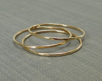 Thin Gold Stackable Rings - Set of 3 or 4 Rings - Super Slim 1mm - 14K Yellow Gold Filled - Simple Modern Minimal Rings