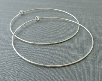 Sterling Silver Earrings - 2 Inch Large Hoop - Hammered - Thin and Dainty - Simple Modern Minimal Wire Jewelry