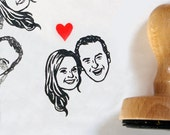 Custom portrait stamp / Valentine Save the date / Personalized couple wedding / self inking handle / for rustic gift invitation thank you
