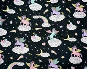 "Unicorn fabric Rainbow and heart 50 cm by 106 cm or 19.6"" by 41 inch half meter"