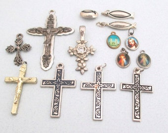 RELIGIOUS CROSS Lot Vintage and RESCUED Cross, Crucifix, charms and pendants (14 pcs) Silver Antique Brass