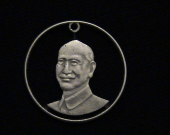 TAIWAN - cut coin pendant - Chiang Kai-shek - 1985