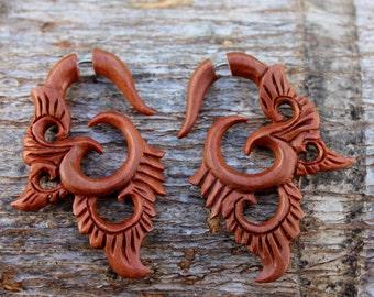 Fake Gauge earrings Organic Triball Wood  tribal style faux earrings,plugs.hand carved,fake piercings,earrings