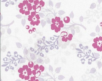 """Pink Flowers on White Cotton Fabric. 45"""" wide. 1 yard."""