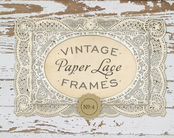 INSTANT DOWNLOAD - Antique Paper Lace Frames Graphics No. 4, Print, Web, Scrapbook, Design - Commercial Use OK
