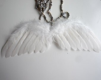 FEATHER ANGEL WING,  Med , 11 inches width, true white / 603
